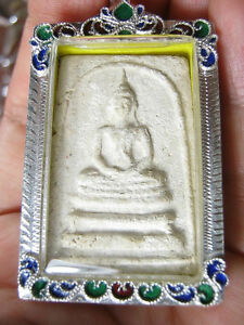 Thai Amulet Pra Somdej Lp Hin Year 1957 In Real Silver Case