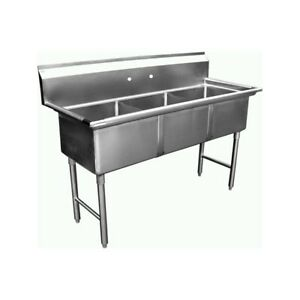 3 Compartment Stainless Steel Sink 18 x18 No Drainbrd