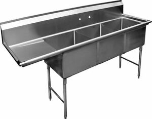 3 Compartment S s Sink 15 x15 With Left Drainboard Nsf
