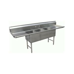 3 Compartment Stainless Steel Sink 24 x24 2 Drainboard