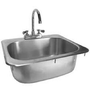 Drop in Hand Sink W Faucet Stainless Steel 16 x15