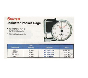 Starret Indicator Pocket Gage Grauation 001 New
