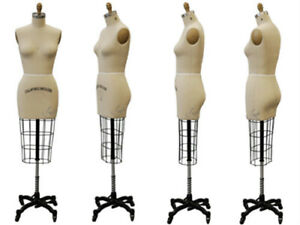 Professional Pro Female Working Dress Form Mannequin Half Size 6 W hip arm