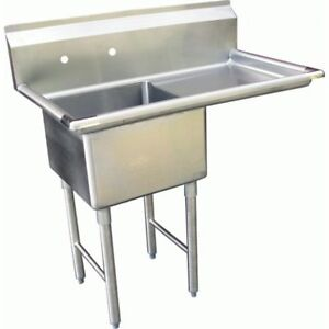 1 Compartment Sink With 1 Right 24 Drain Board Nsf