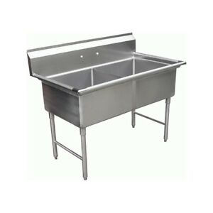 2 Compartment Stainless Steel Sink 18 x18 No Drainboard