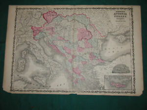 Three 1862 Johnson Map Austria Turkey In Europe Greece