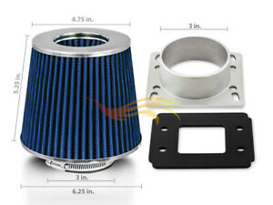 Blue Cone Dry Filter Air Intake Maf Adapter Kit For 91 94 Sentra L4 Nx 1 6 2 0