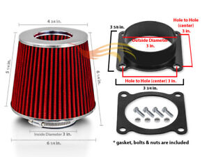 Red Filter Air Intake Adapter Kit For Nissan 00 06 Sentra 2 0l 2 5l L4