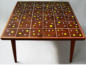 1950 Mid Century Teak Wood Mosaic Tile Top Coffee Table Danish Modern Eames Era