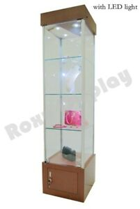 Cherry Tower Showcase Display Store Fixture Assembled W Lights wl18ch