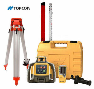 Topcon Rl h5a Self leveling Rotary Grade Laser Level W Tripod And 14 Rod Tenths