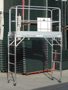 Aluminum Scaffold Rolling Tower 6 Deck Standing High With Gaurd Rail And U Lock