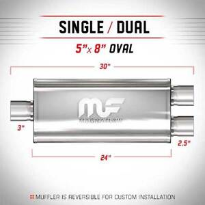 Magnaflow 3 3 Inch Inlet Dual 2 5 2 1 2 Outlet Stainless Steel Muffler