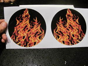 Shotgun Air Intake Scoop Sticker Real Fire Yellow True Flames Decal Carb Hat