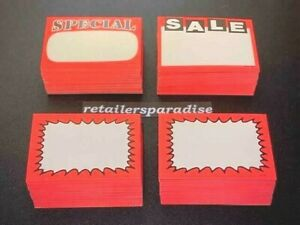Assorted Lot Of 200 Sale special new Price Signs Retail Store Pricing Tags