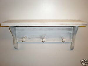 White Weathered Look 3 Peg Shaker Shelf 19 Long Primitive Rustic Wood
