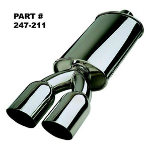 Bosal Perf Universal Polished 304 S s Muffler With Dual 3 Round Tips