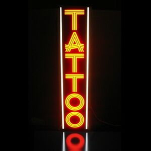Tattoo Led Sign Parlor Body Piercing Orange Vertical Light Box Neon Alternative