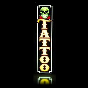 Tattoo Led Sign Yellow Green Skull Quality Printing Light Box Neon Alternative