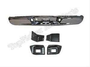 For 2003 Dodge Pickup Ram 2500 3500 1500 Rear Bumper Face Bar Chr Bracket Set 5p