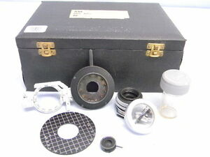 Vintage Vickers Microscope Accessories Lens Shutter Irus Etc Cased Kit