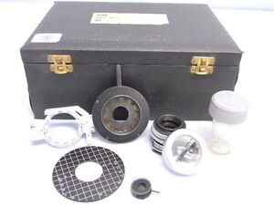 Vintage Vickers Microscope Accessories Lens Shutter Iris Etc Cased Kit