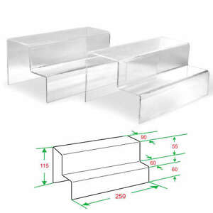 4x Clear Acrylic 2 tier Steps Display Riser Stand Jewelry Gift Showcase 4 1 2 H
