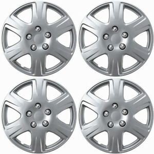 4 Pc Of 15 Inch Silver Hub Caps Full Lug Skin Rim Cover For Oem Steel Wheel