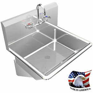 Hand Sink Manual Faucet 24 Single Wall Mount Bsm Stainless Steel No Dispenser