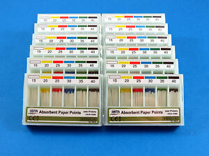 Dental Absorbent Paper Points Color Coded No 15 40 Kit 12 Box Meta
