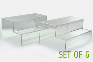 6x Clear Acrylic 2 tier Step Display Riser Stand Jewelry Gift 10 l X 4 5 h X6 d