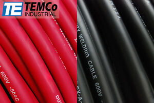 Welding Cable 2 0 50 25 Black 25 red Ft Battery Usa New Gauge Copper Awg Solar