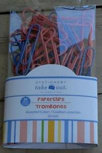 New In Package Stationery Take Out 80 Pack Assorted Color Coated Largepaperclips