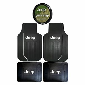 Jeep Elite Steering Wheel Cover Front Rear Rubber Floor Mats Universal Car Truck