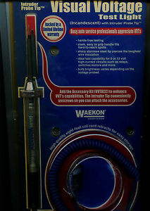 Waekon Vvt10 Visual Voltage Test Light W Intruder Probe Tip Made In Usa
