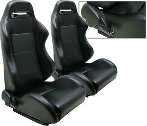New 2 Black Pvc Leather Racing Seats Reclinable W Slider All Dodge