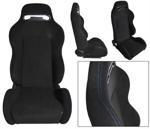 1 Pair Black Cloth Blue Stitch Racing Seats Reclinable Mitsubishi New