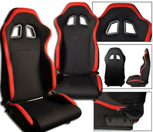 1 Pair Black Red Cloth Racing Seats Reclinable 1964 2012 Ford Mustang Cobra