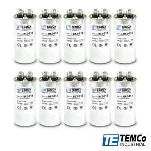 Temco 35 Mfd Uf Run Capacitor 370 Vac Volts 10 Lot Ac Motor Hvac 35 Uf