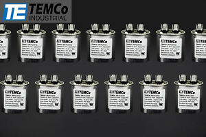 Temco 5 Mfd Uf Run Capacitor 370 440 Vac Volts 25 Lot Ac Motor Hvac 5 Uf