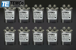 Temco 10 Mfd Uf Run Capacitor 370 440 Vac Volts 10 Lot Ac Motor Hvac 10 Uf