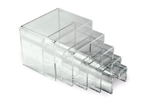 3 Sets Hi gloss Clear Acrylic Jewelry Display Riser Stand Set Of 5 2 To 4 W