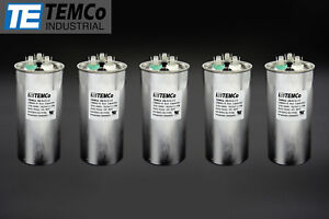 Temco 70 5 Mfd Uf Dual Run Capacitor 370 440 Vac Volts 5 Lot Ac Motor Hvac 70 5
