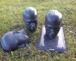 2 Of Halloween Prop Male Mannequin Head Plastic Creepy Skull Lot Lawn Black grey