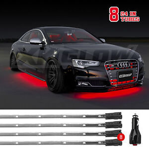 Led 8pc Slim Strip Universal Car Truck Neon Accent Undercar Glow Lighting Red