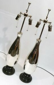 Mercury Glass Teardrop Mid Century Moderne Retro Vintage Regency Table Lamps