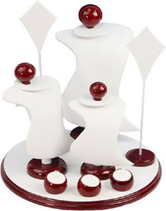 9 Piece Jewelers White Leather Display Set Necklace pendant Earring rings