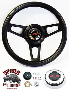 1974 1994 Chevy Pickup Suburban Steering Wheel Red Bowtie 13 3 4 Black Spoke