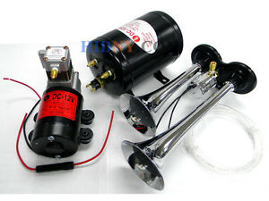 Complete Kit Truck Train Air Horn Dual Trumpet Very Loud 12v 2 5l Tank