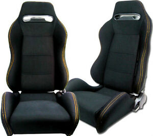 2 Black Cloth Yellow Stitch Racing Seats Reclinable Sliders Mitsubishi